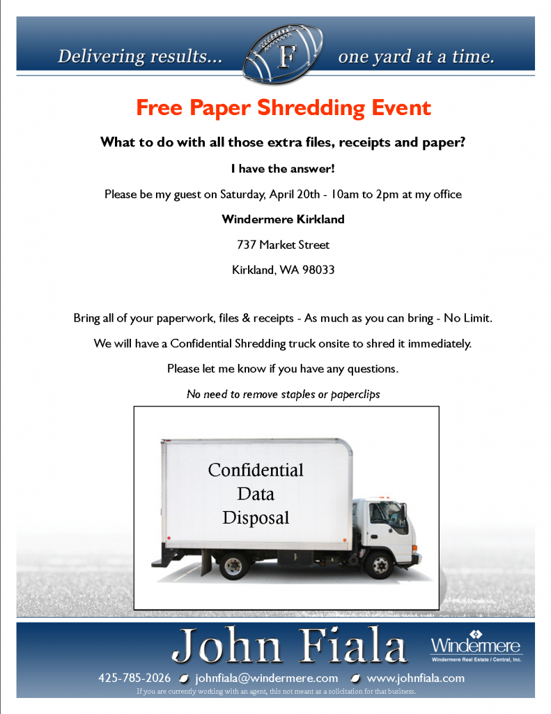 Free Shredding Event Hosted by Windermere and John Fiala
